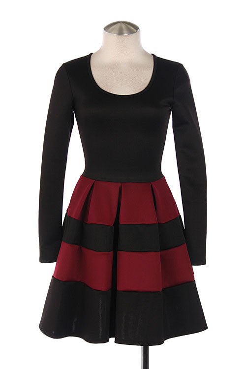 Stripe Print Burgundy Colorblock Dress