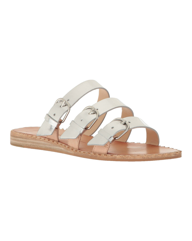 Para Metallic Leather Slide Sandals