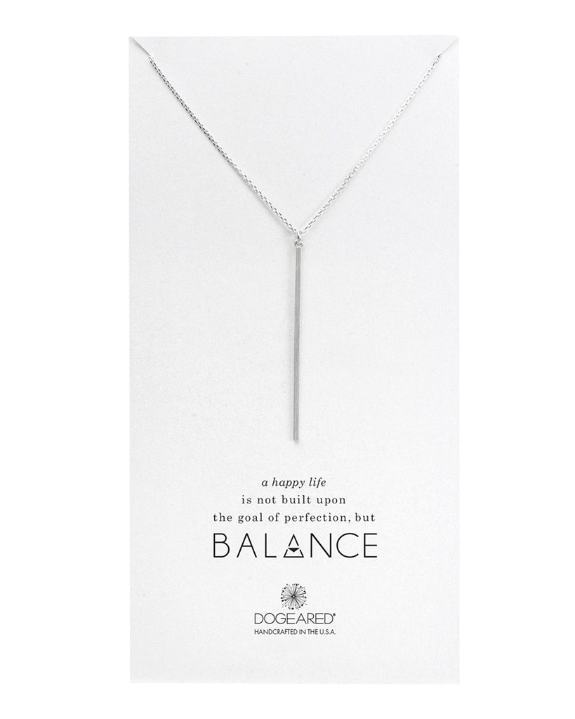 Dogeared Balance Long Bar Charm Necklace