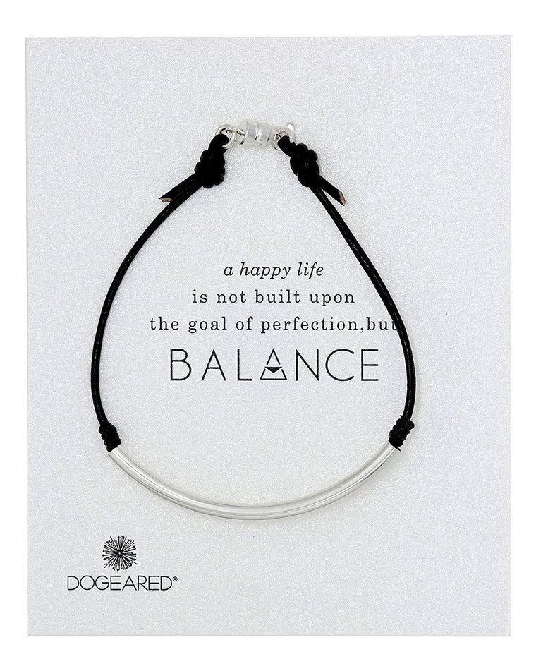 Balance Black Leather Tube Bracelet