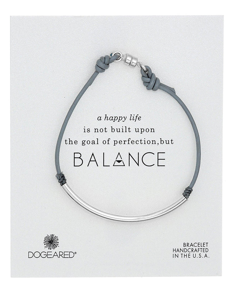 Balance Gray Pebble Leather Tube Bracelet