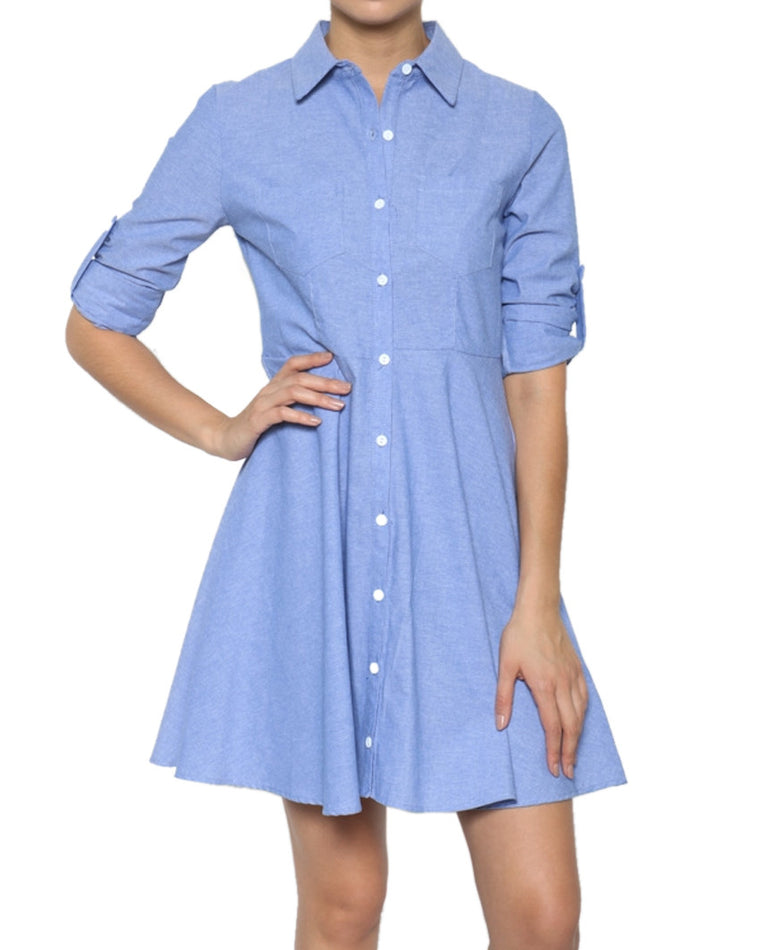 Chambray A-Line Shirt Dress