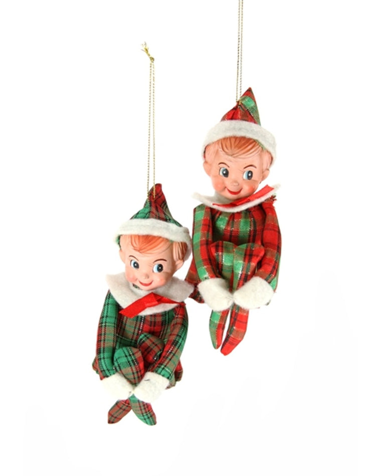 Plaid Elf Ornaments (Set of 2)