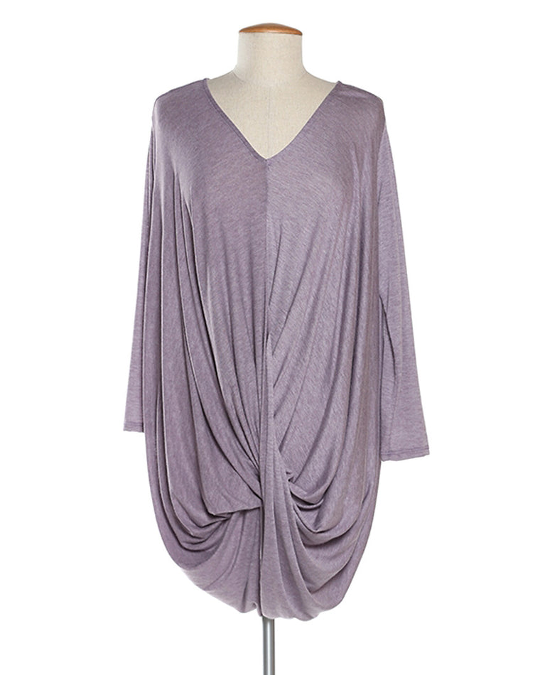 Heather Purple Draped Tunic Top