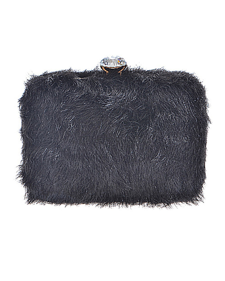 Black Eyelash Rhinestone Clutch