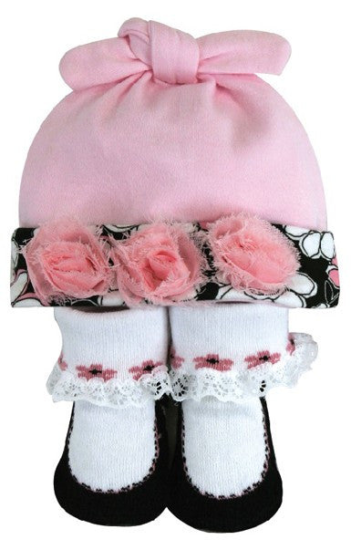 Stephan Baby Black Flower Hat/Bootie Set