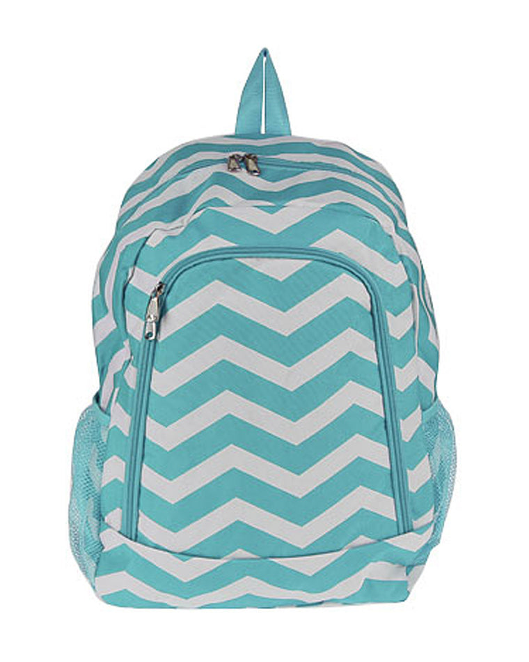 Front Zip Chevron Print Backpack