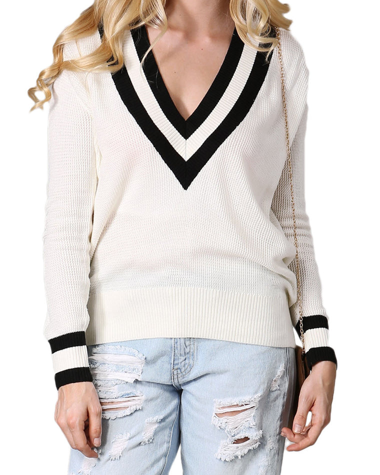 V-Neck Knit Boyfriend Sweater