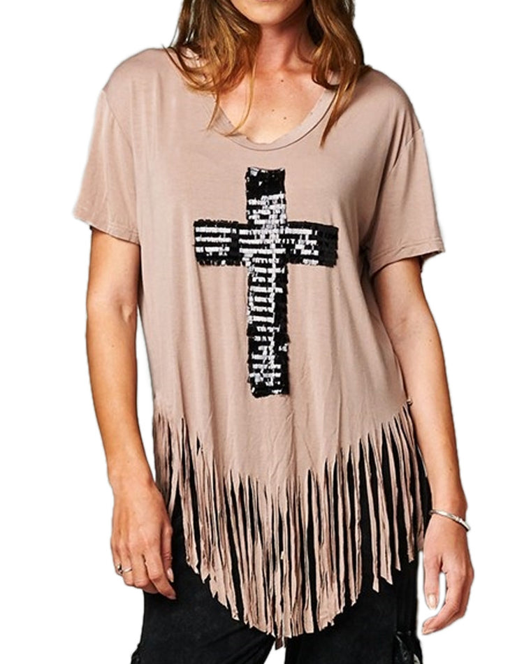 Sequin Cross Fringe Top