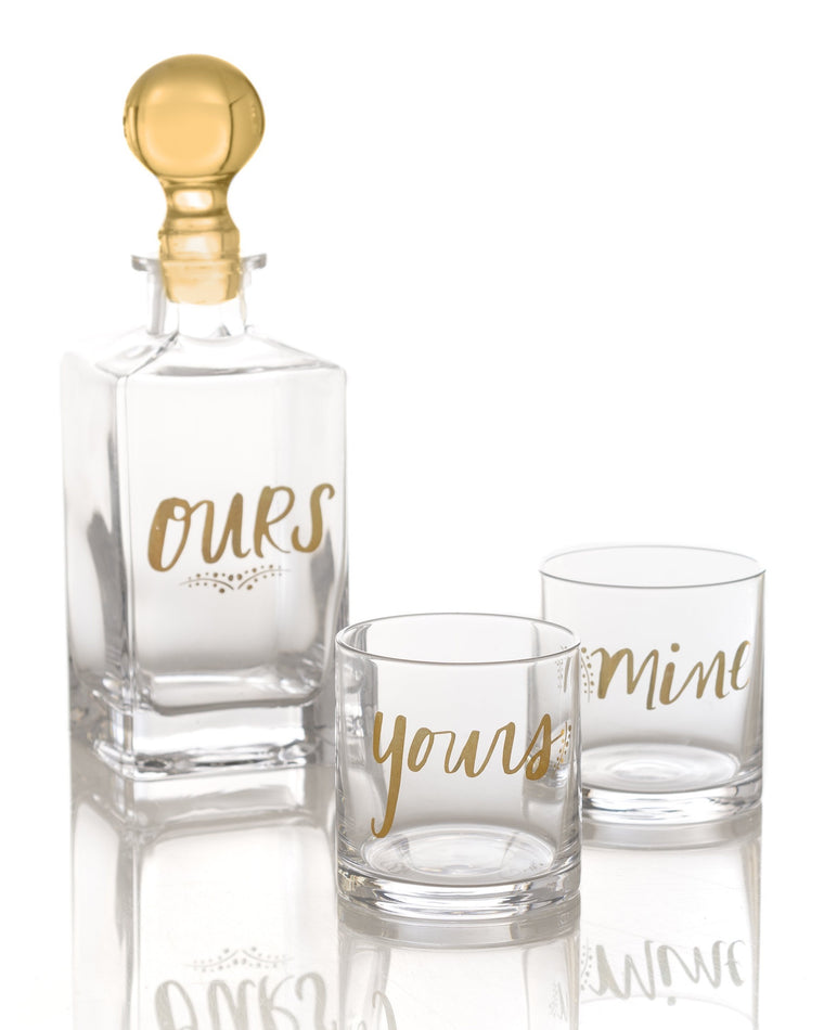 'Mine, Yours, Ours' Decanter and Glasses Set