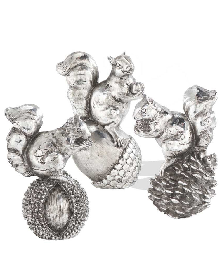 Metallic Squirrel on Nuts Decoration Set (Set of 3)