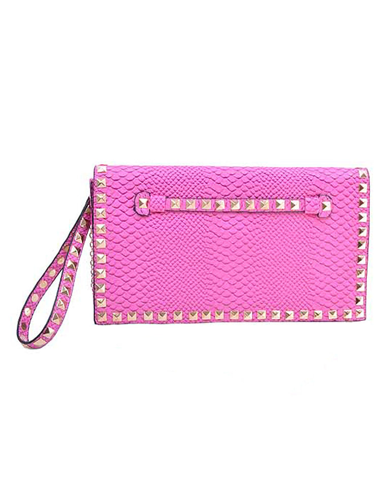Studded Pink Embossed Clutch