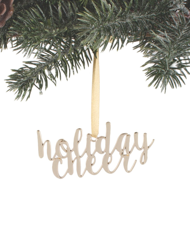 Gold Script Holiday Cheer Ornament
