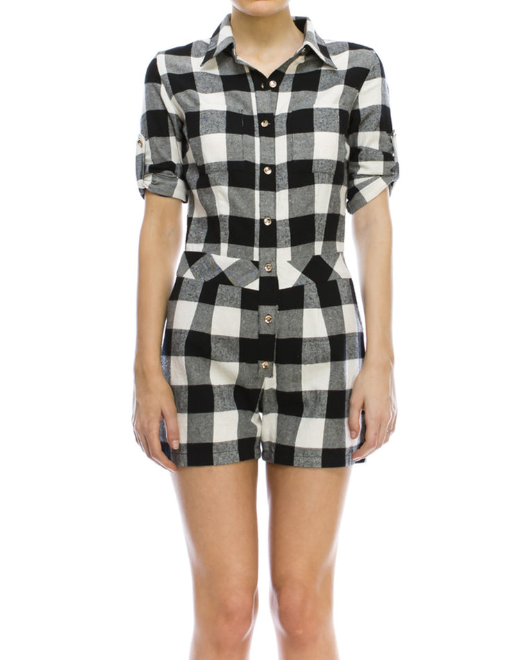Gingham Pattern Romper
