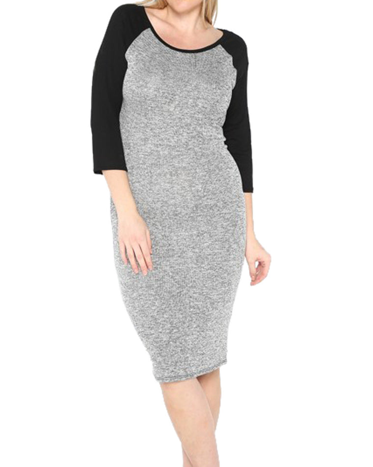 Raglan Sleeve T-Shirt Dress (Curvy Plus)
