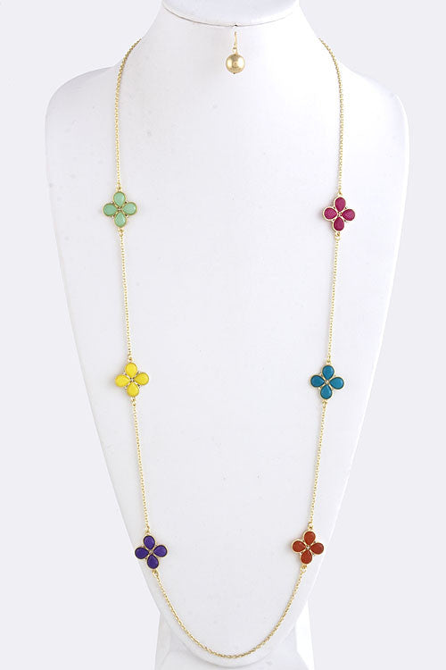 Clover Jewel Layering Chain Necklace