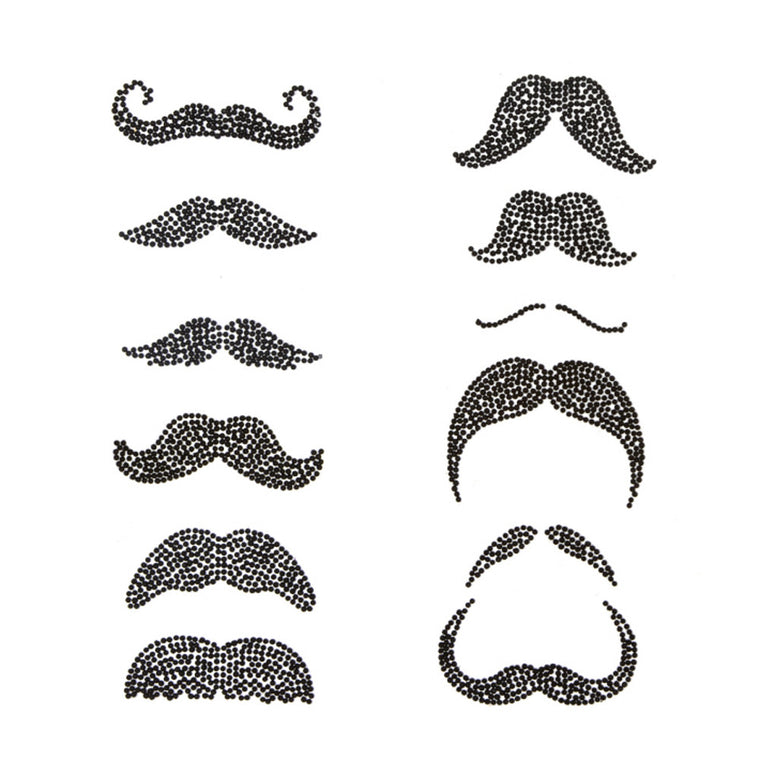 Mustache Glass Bling Decal Set