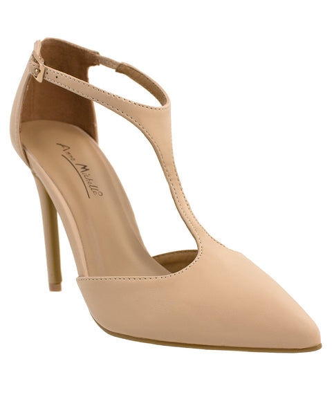 Spill The Tea Nude T-Strap Pumps