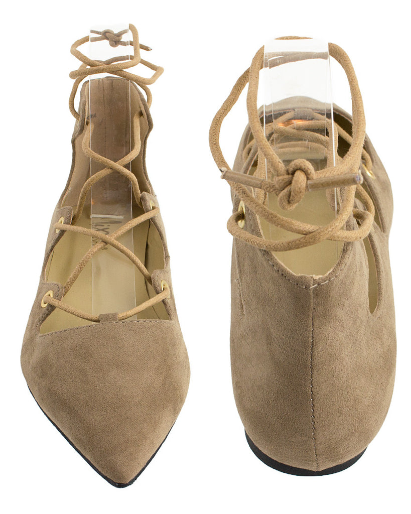 Crossing Point Lace-Up Ballet Flats
