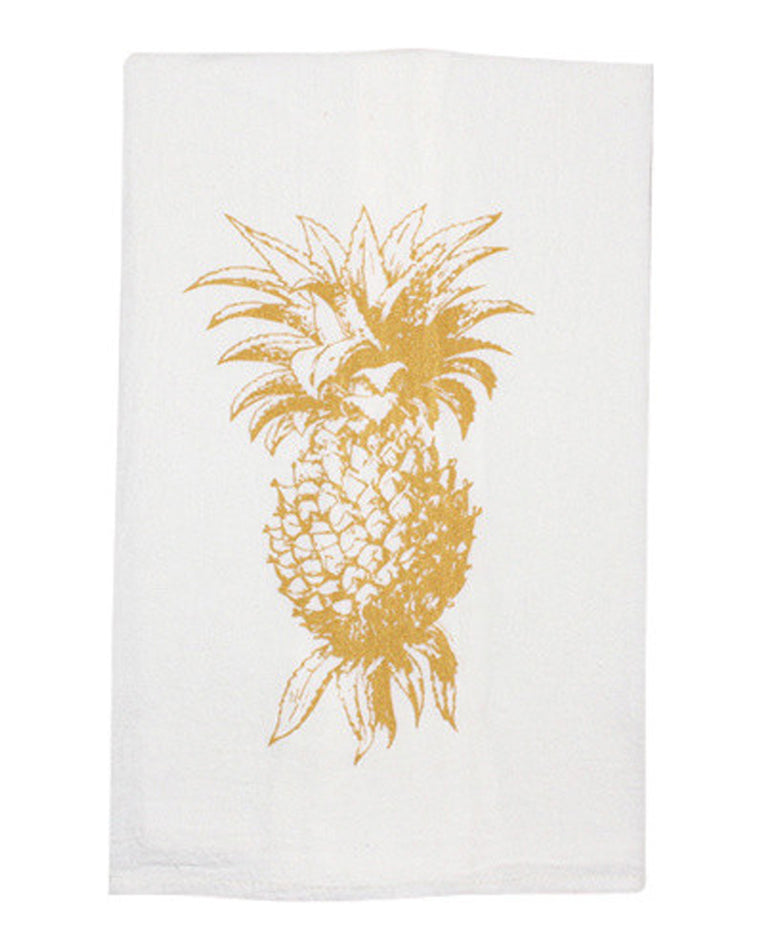 Gold Pineapple Tea Towel