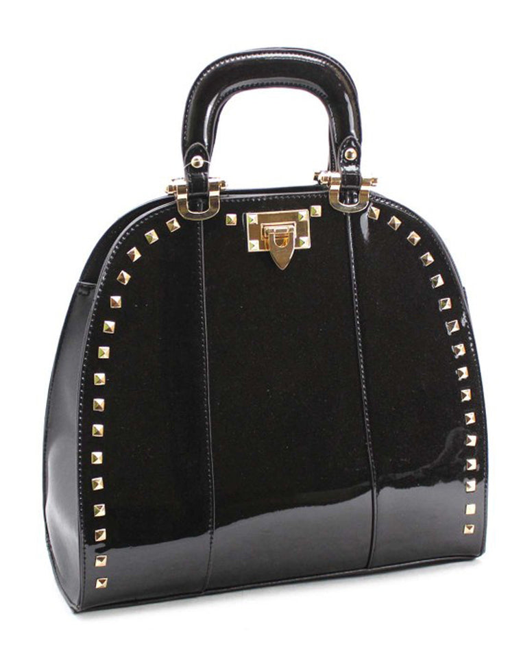 Studded Glossy Satchel Bag