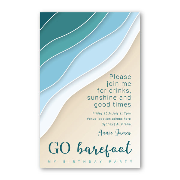 Birthday Invitation - Go Barefoot Template - ux_design  network