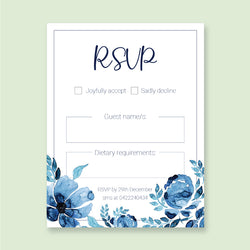 Wedding Blue Sky Theme Template - RSVP Cards - Events and Fiesta Design