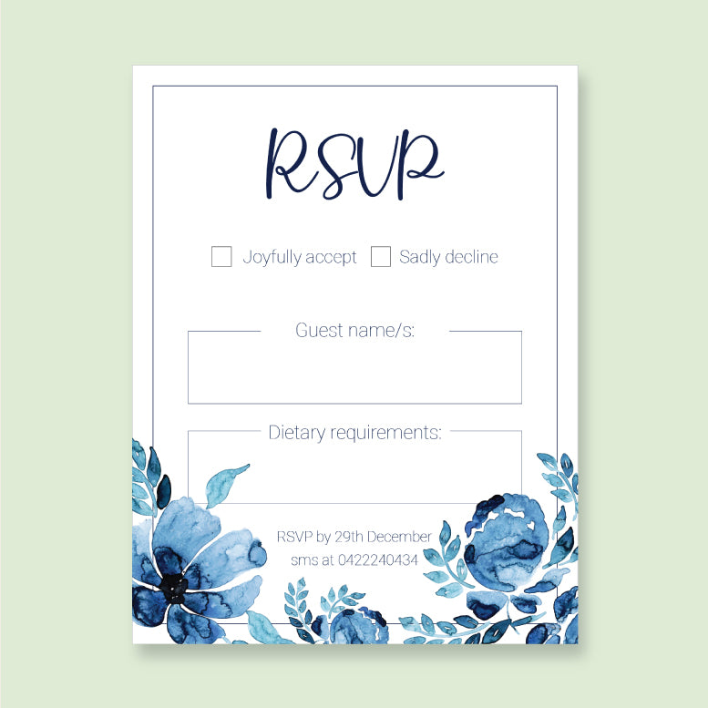 Wedding Blue Sky Theme Template - RSVP Cards - ux_design  network