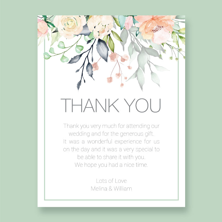 Wedding Blush Flowers Theme Template - Thank You Card - Events and Fiesta Design
