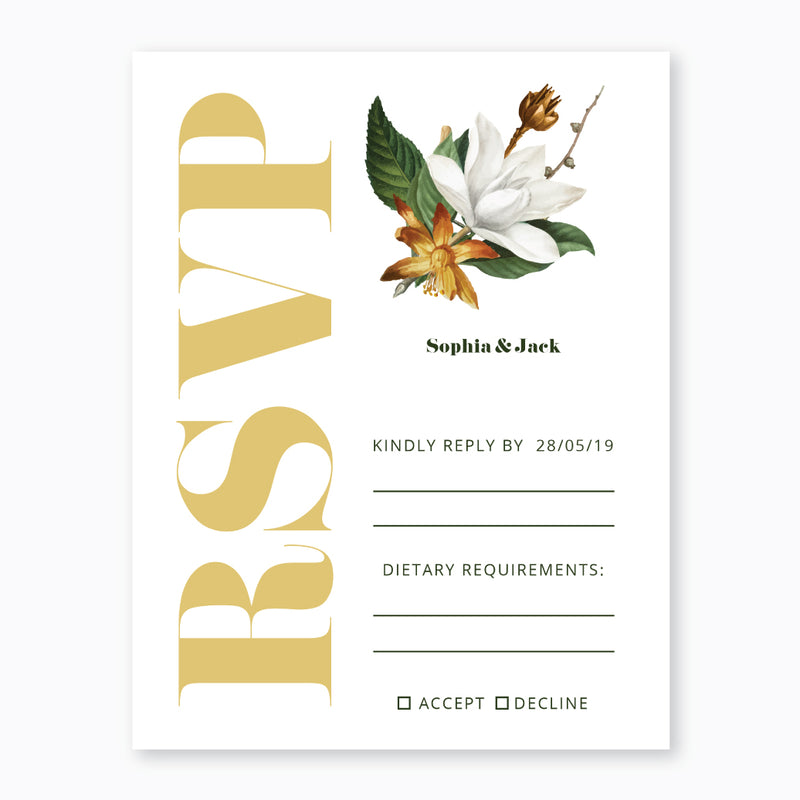 Wedding Camelia Flowers Theme Template - RSVP Cards - ux_design  network