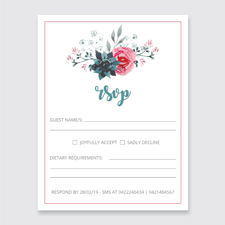 Wedding English Garden Theme Template - RSVP Cards - Events and Fiesta Design
