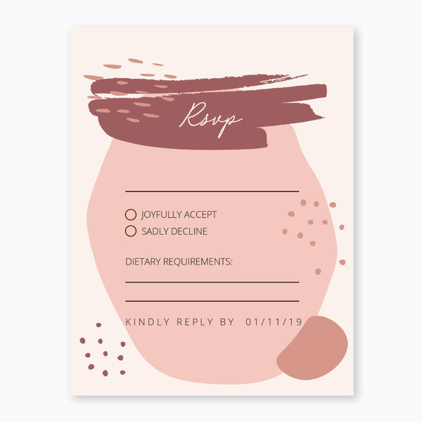 Wedding Geo Blush Theme Template - RSVP Cards - Events and Fiesta Design