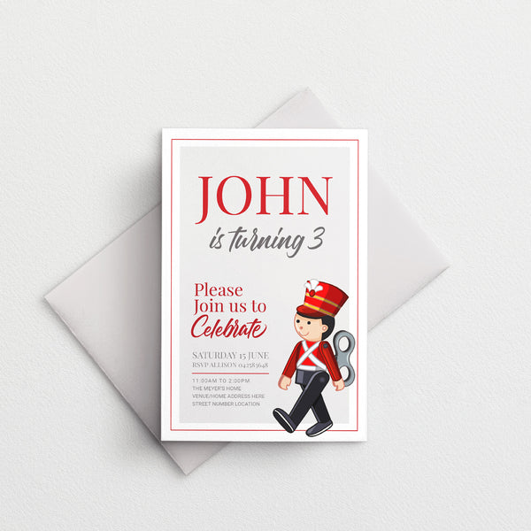 Kids Birthday Invitation - Toy Soldier Template - Events and Fiesta Design