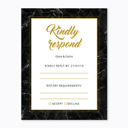 Wedding Black and Gold Marble Theme Template - RSVP Cards - ux_design  network