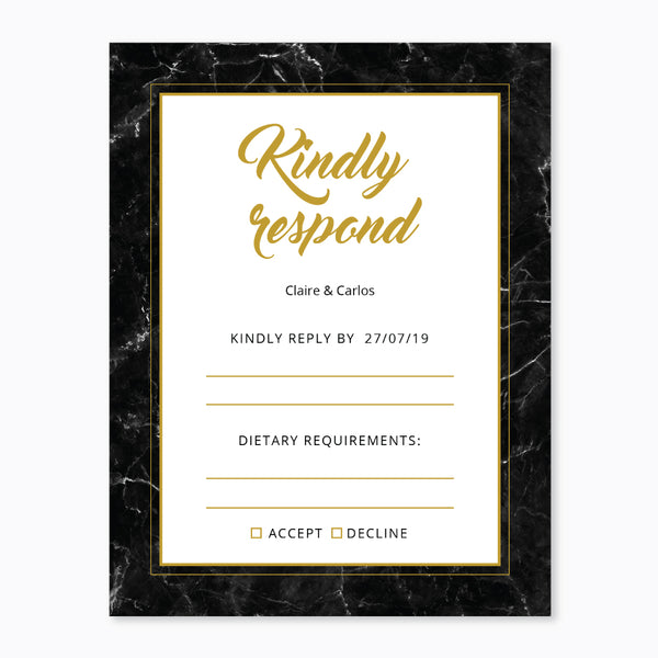 Wedding Black and Gold Marble Theme Template - RSVP Cards - Events and Fiesta Design