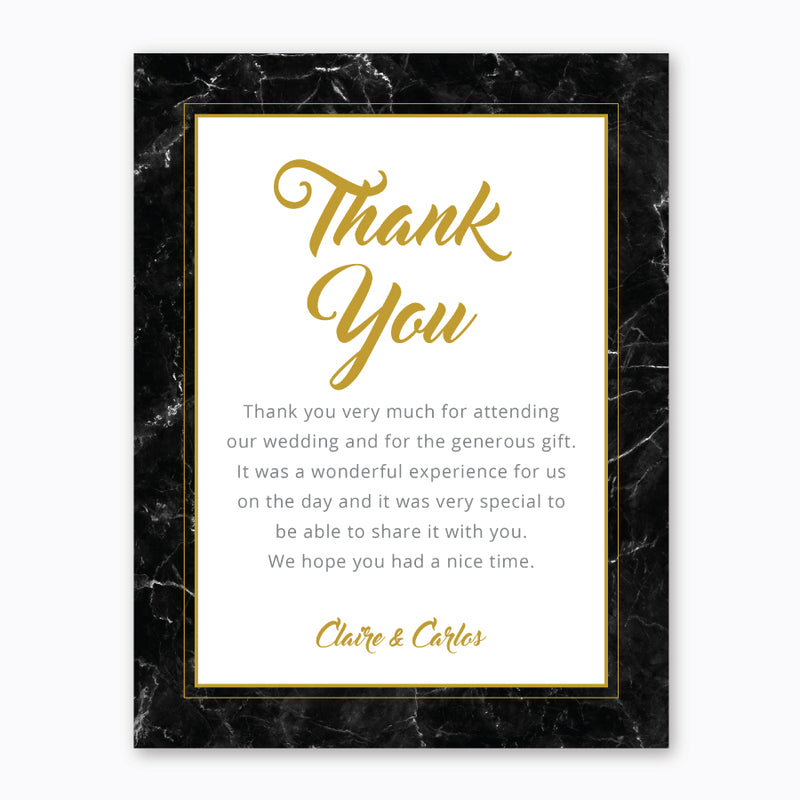Wedding Black and Gold Marble Theme Template - Thank You Card - Events and Fiesta Design