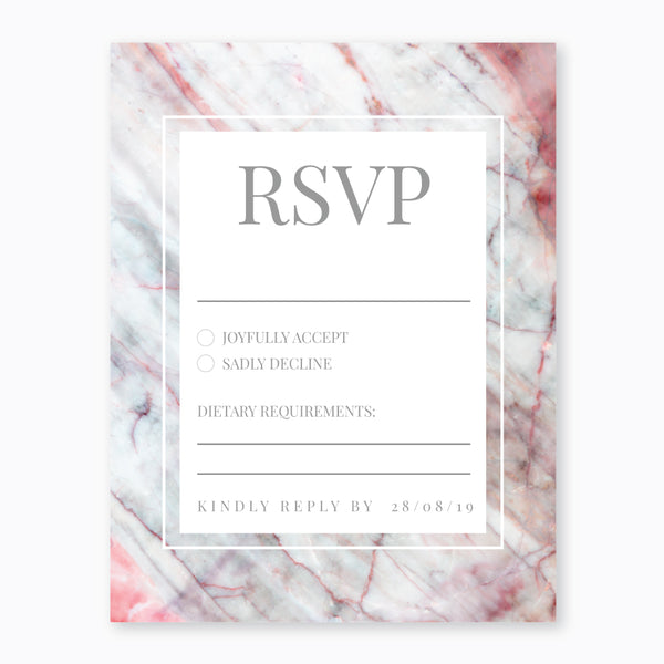 Wedding Ink Pink Marble Theme Template - RSVP Cards - ux_design  network