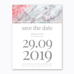 Ink Pink Marble Theme - Wedding Save the Date - Events and Fiesta Design