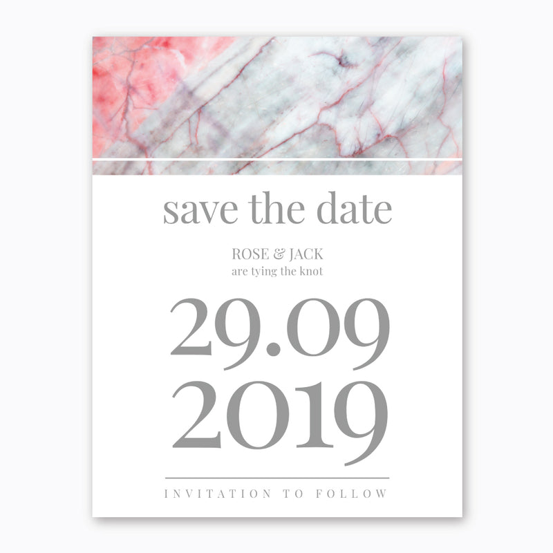 Ink Pink Marble Theme - Wedding Save the Date - ux_design  network