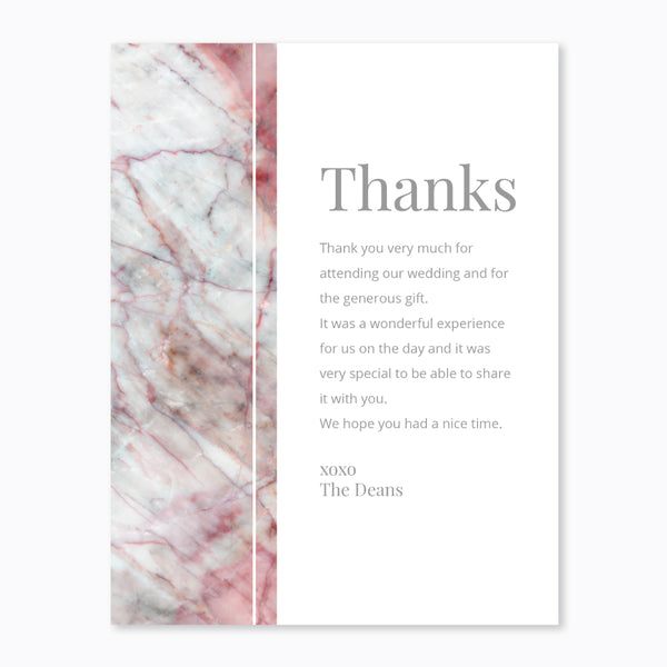 Wedding Ink Pink Marble Theme Template - Thank You Card - Events and Fiesta Design