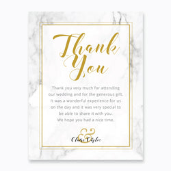 Wedding Gold and Marble Theme Template - Thank You Card - ux_design  network