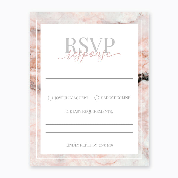 Wedding Pink Marble Theme Template - RSVP Cards - Events and Fiesta Design
