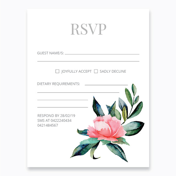 Wedding Peony Flowers Theme Template - RSVP Cards - Events and Fiesta Design