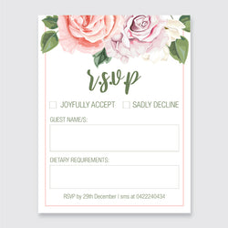 Wedding Pink Roses Theme Template - RSVP Cards - ux_design  network