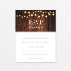 Rustic Fairy Lights and Dark Wood Theme Template - RSVP Cards - Events and Fiesta Design