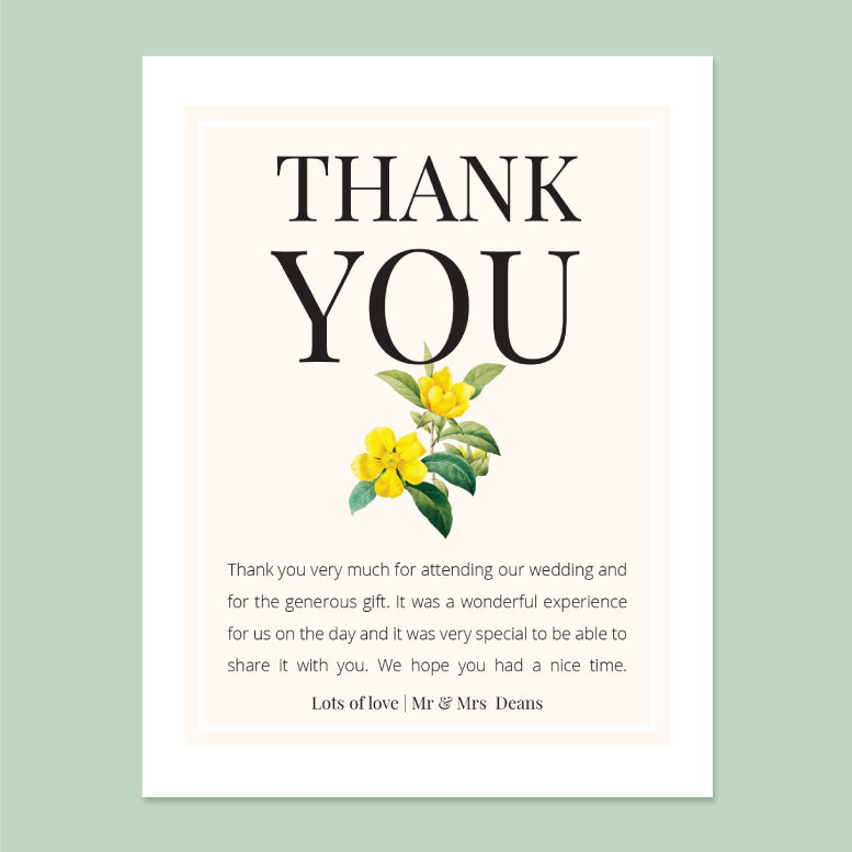 Wedding Sunshine Theme Template - Thank You Card - Events and Fiesta Design