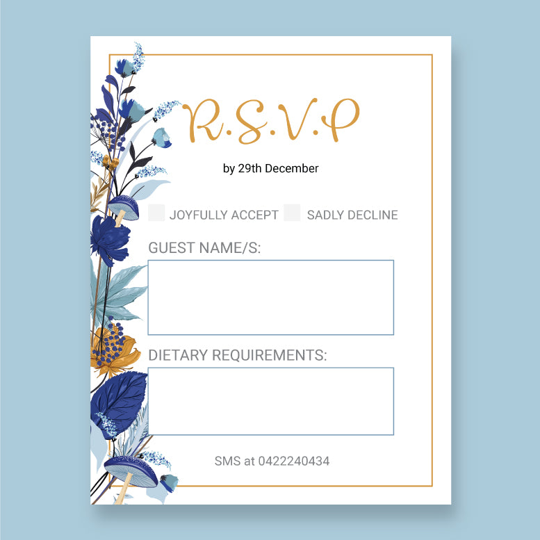 Wedding Wild Flowers Theme Template - RSVP Cards - ux_design  network