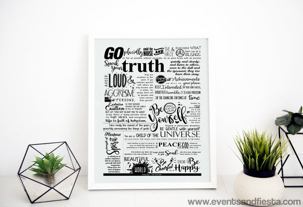 Desiderata by Max Ehrmann - pdf poster print - A3 A4 A5 - 8.5 X 11 inches - Events and Fiesta Design