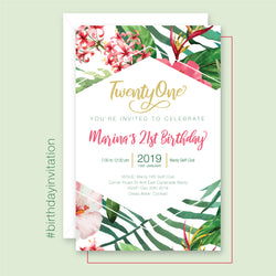 Birthday Invitation - Tropical Vibes Template - Events and Fiesta Design