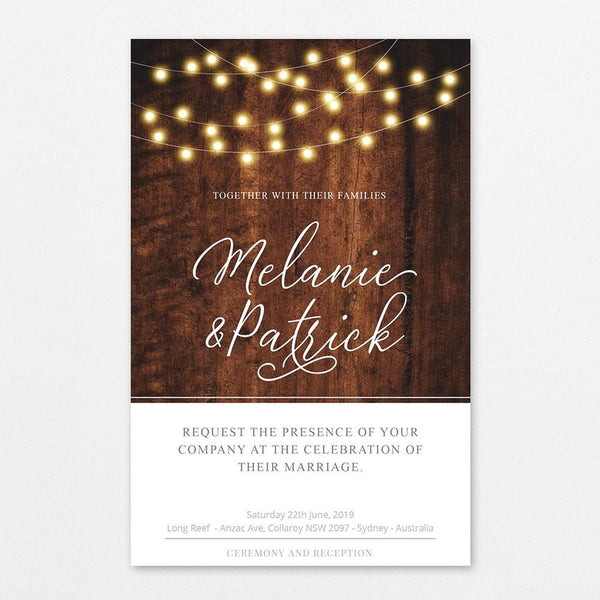 wedding invitation card template set fairy lights dark wood Rustic Fairy Lights - save the date - events and fiesta design - rustic